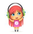 happy girl headphones listen music isolated 3d vector image vector image