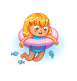 happy girl swimming with lifebuoy in the sea vector image