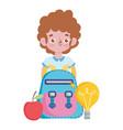 happy teachers day student boy rucksack apple vector image vector image