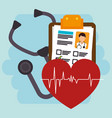 heart cardio with medical healthcare icons vector image
