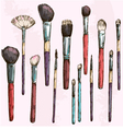 Make up brushes collection Fashion vector image vector image