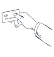 man hold credit card in hands sketch drawing vector image vector image