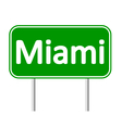 Miami green road sign vector image vector image