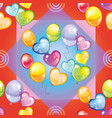 pattern with colorful balloons on red background vector image vector image