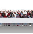 protesting people with fists raised and banners vector image vector image