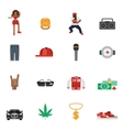 Rap Music Flat Icons vector image vector image