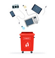 red trash can for electronic waste flat isolated vector image vector image