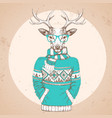 retro hipster fashion animal deer vector image vector image