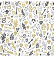 romantic doodle background gold silver glitter vector image