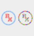 rx receipt symbol mosaic icon triangles vector image vector image