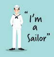 sailor smiling character on sky blue background vector image vector image