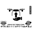 Send Drone Hand Flat Icon With 2017 Bonus Trend vector image vector image