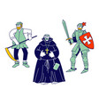 set medieval characters peasant fat monk vector image