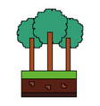 set of pixel tree foliage trunk nature vector image vector image