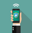 Smartphone protected by firewall guard vector image vector image