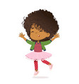 smiling african american girl happily jump and vector image vector image