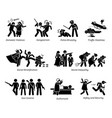 social problems and critical issues stick figure vector image vector image