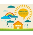 spring time with sun and raining clouds vector image vector image