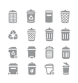 Trash can and recycle bin icons Garbage and vector image vector image