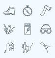 vacation icons line style set with matchbox axe vector image