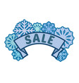 winter sale sign on ribbon with blue snowflakes vector image vector image