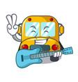 with guitar school bus mascot cartoon vector image vector image