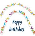 Happy birthday birds card with unusual funny vector image