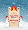 Christmas greeting card with snowman vector image
