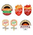 Vintage pizzeria labels badges design elements vector image