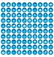 100 arrow icons set blue vector image