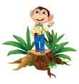 A stump with a monkey holding an envelope vector image vector image