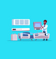 african american doctor check hospital ward vector image
