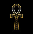 ankh cross with flower life pattern goldblack