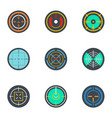 army target icon set flat style vector image