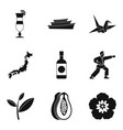 assimilation in asia icons set simple style vector image vector image