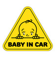 baby in car sticker funny face of boy or girl vector image