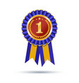Blue and gold ribbons award isolated on white vector image