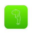 business man with umbrella icon green vector image vector image
