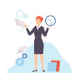 businesswoman planning and controlling her working vector image vector image