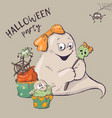 card of ghost characters emoticons isolated vector image vector image
