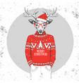 christmas hipster fashion animal deer vector image vector image