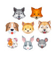 cute animal face with polygonal geometric style vector image