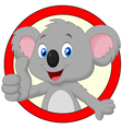 Cute koala giving thumb up vector image vector image