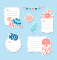 cute sea animals greeting cards tags and stickers vector image vector image