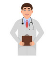 doctor with stethoscope medic in working clothes vector image