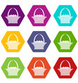easter basket icon set color hexahedron vector image vector image