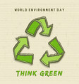 environment day card green recycle symbol vector image vector image