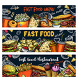 fast food burgers pizza and hot dogs sketch vector image vector image