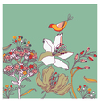 Flower background with bird vector | Price: 1 Credit (USD $1)