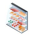 food showcase fridge icon isometric style vector image vector image